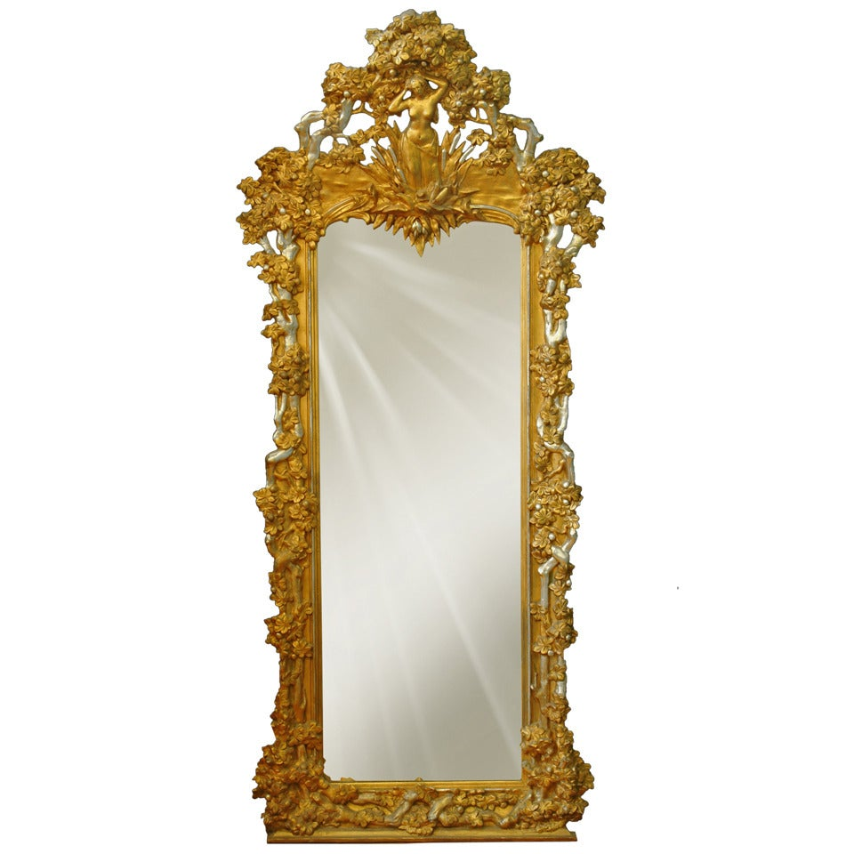 French Napoleon III Gilt and Silvered Carved Wood and Gesso Full Length Mirror