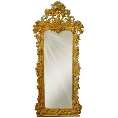 A French Napoleon III Gilt & Silvered Carved Wood and Gesso Full Length Mirror.