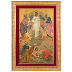A Large Antique Russian Icon Depicting the Transfiguration of Jesus Christ