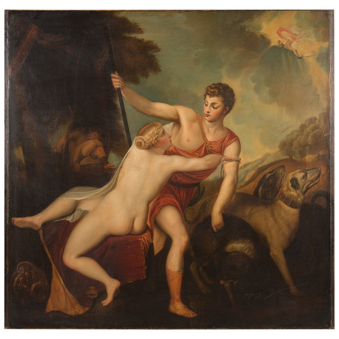 A Continental Mythological Antique Oil on Canvas of Aphrodite and Adonis
