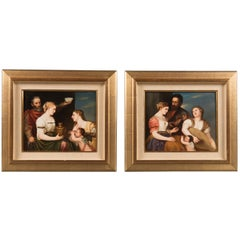 "A Pair of German Antique K.P.M Porcelain Plaques Depicting ""Aligira and Tirian"""