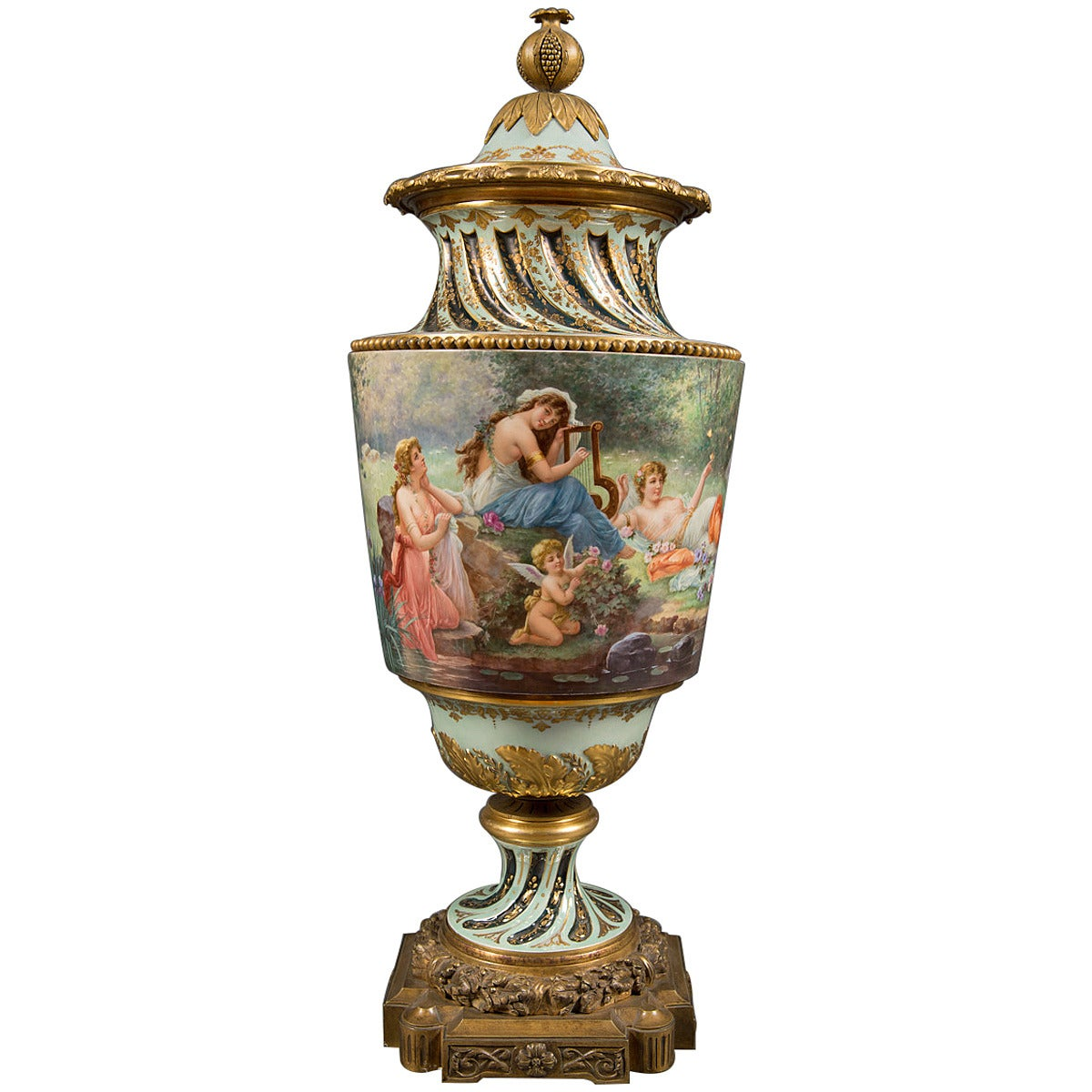Very Fine Austrian Antique Royal Vienna Bronze Mounted Lidded Vase, circa 1890 For Sale