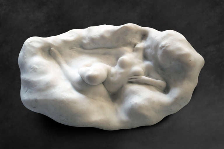20th Century French Art Nouveau Marble Figure of a Nude Lady by Théodore Rivière For Sale
