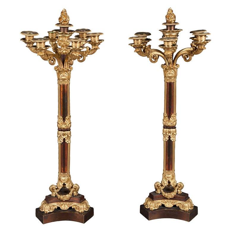 Pair of 19th Century French, Louis XVI Style Gilt Bronze Candelabras
