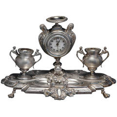 French Sterling Silver Clock and Ink Stand, circa 1875, Minerva Mark