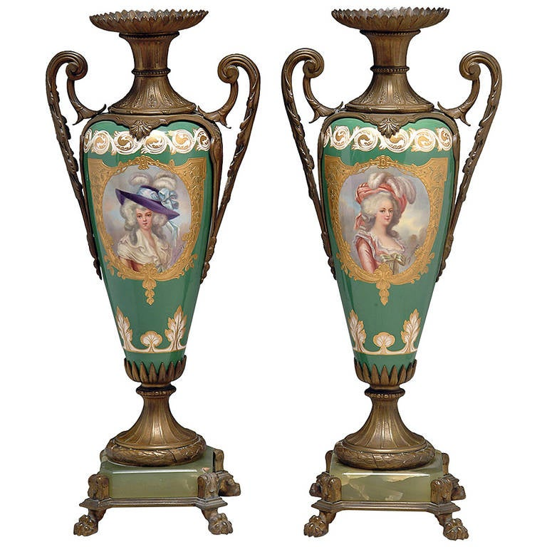 Pair of 19th Century French Sevres-Style Bronze-Mounted Green Ground Vases