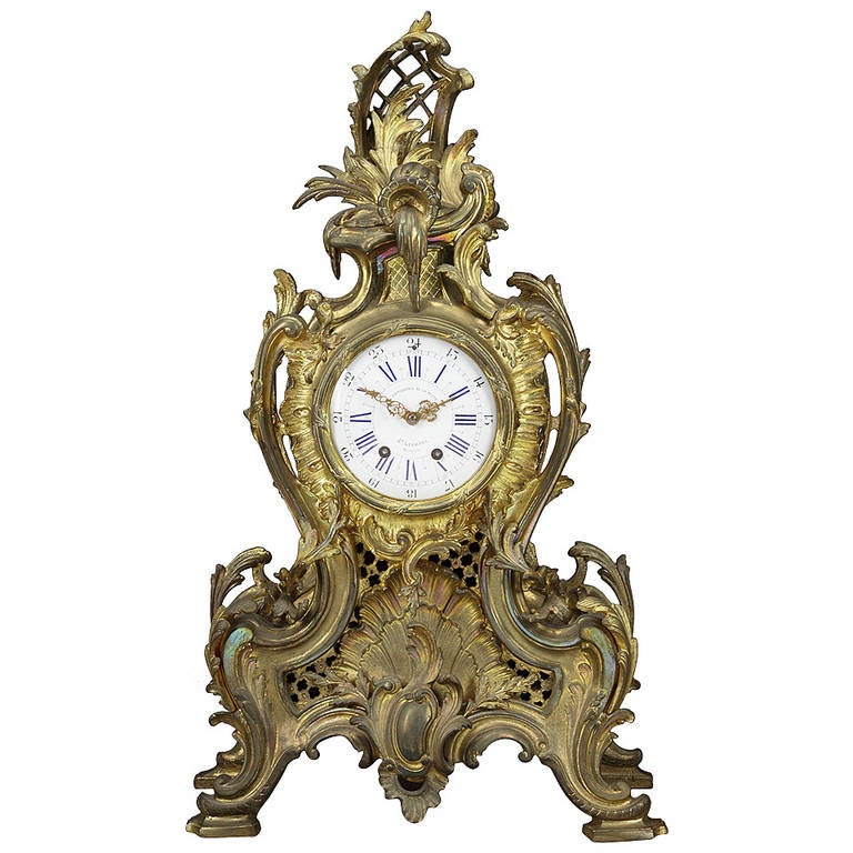 19th Century Belgian Gilt Bronze Louis XV Style Mantel Clock For Sale