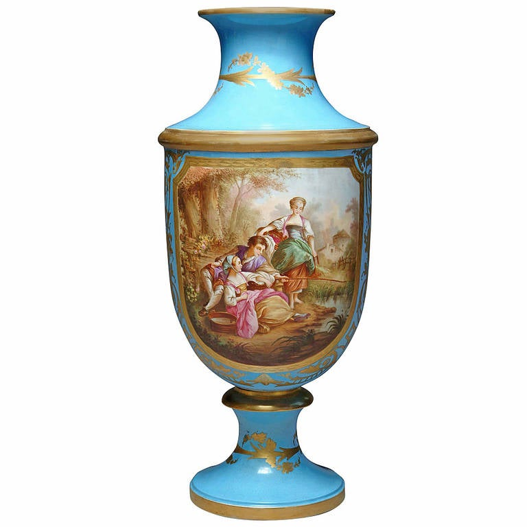 19th Century French Hand-Painted Sevres Style Turquoise Porcelain Vase For Sale