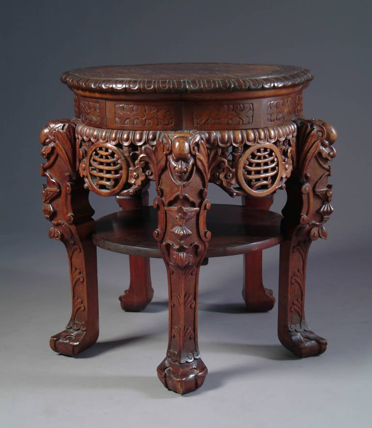 Carved Tables Philippines: Japanese Rosewood Hand-Carved Pedestal For Sale At 1stdibs