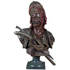 "Orientalist Bronze Bust ""Janissaire Du Sultan Mahmoud II"" by Emile Guillemin"