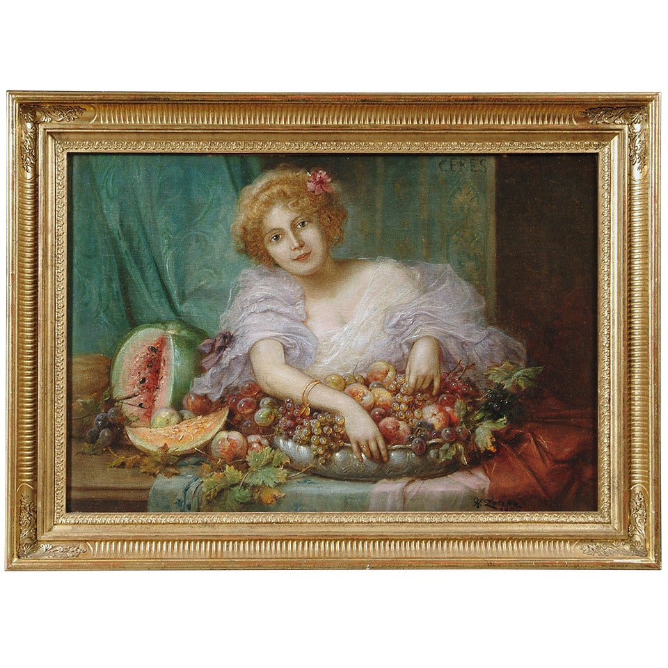 "Hans Zatzka, ""Young Lady with Fruit"" Oil Painting on Canvas"
