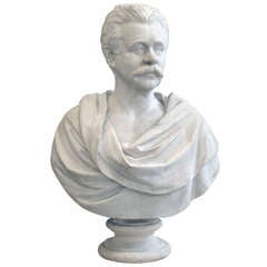 A Large American White Marble Bust of A Gentleman By Randolph Rogers