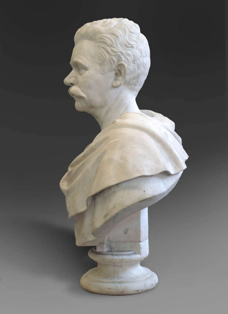 A Large American White Marble Bust Of A Gentleman By
