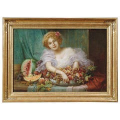 Oil on Canvas of a Young Lady with a Basket of Fruit by Hans Zaztka