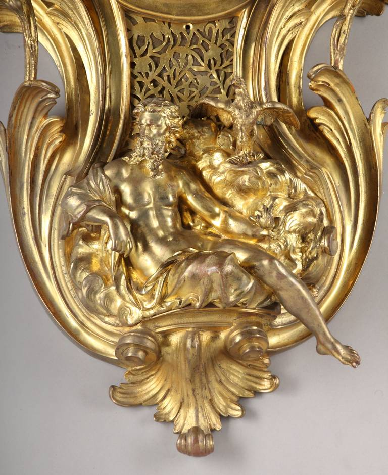 Large French Louis XV Style Gilt Bronze cartel clock In Excellent Condition For Sale In Los Angeles, CA