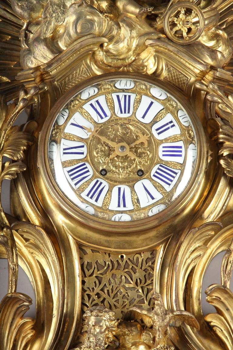 19th Century Large French Louis XV Style Gilt Bronze cartel clock For Sale