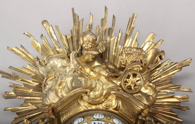 Ormolu Large French Louis XV Style Gilt Bronze cartel clock For Sale