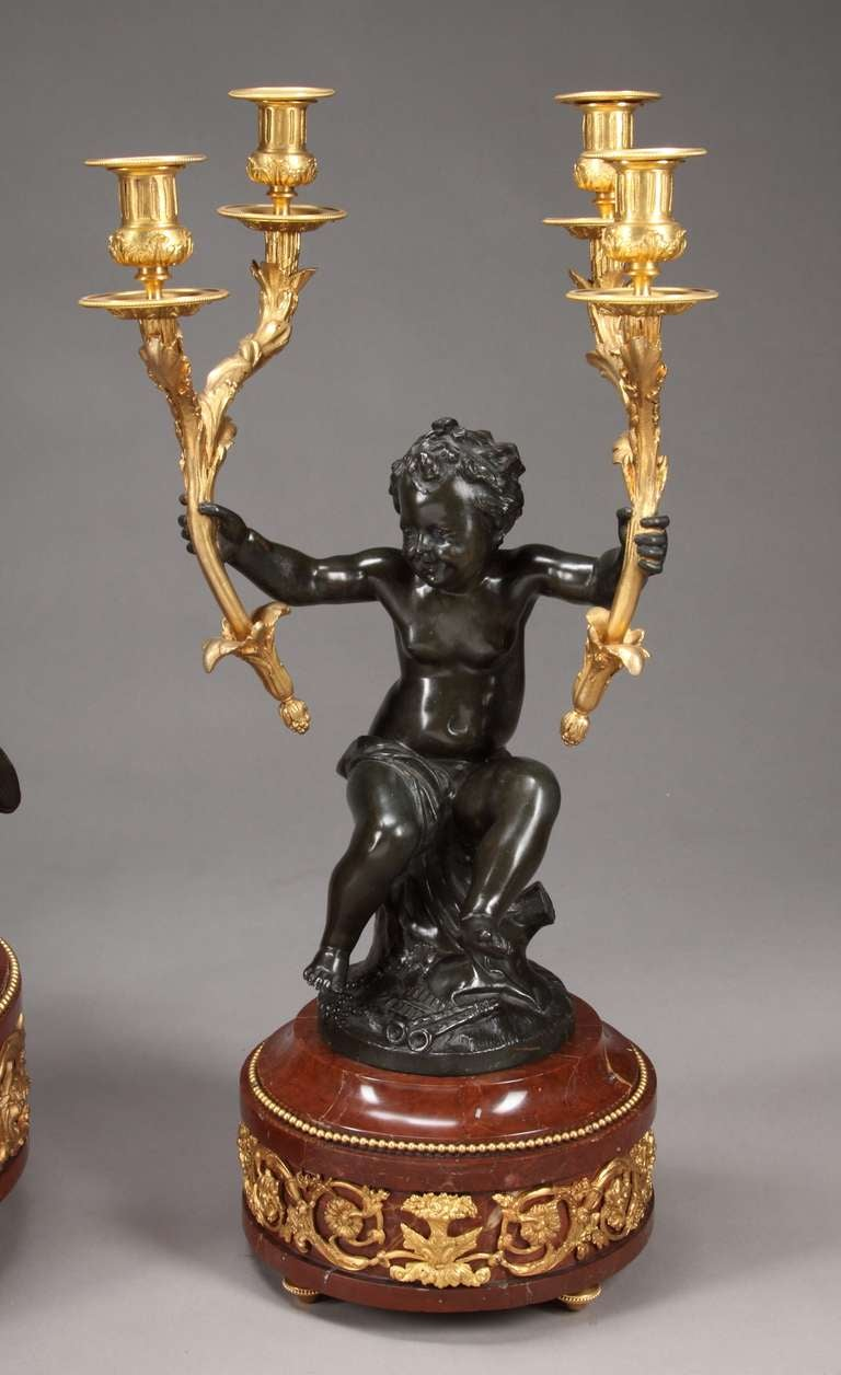 French Large Clock Garniture Signed Houdon For Sale