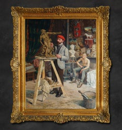 """Large Oil Painting """"Intérieur D'atelier"""" 'Workshop Interior' by Gustave Cambier"""