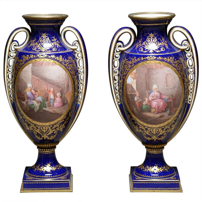 A Finely 19th Century Pair Of French Sevres Style Hand