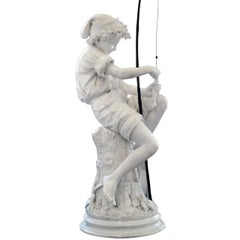 Large Marble Sculpture of a Fisherman by Lot Torelli
