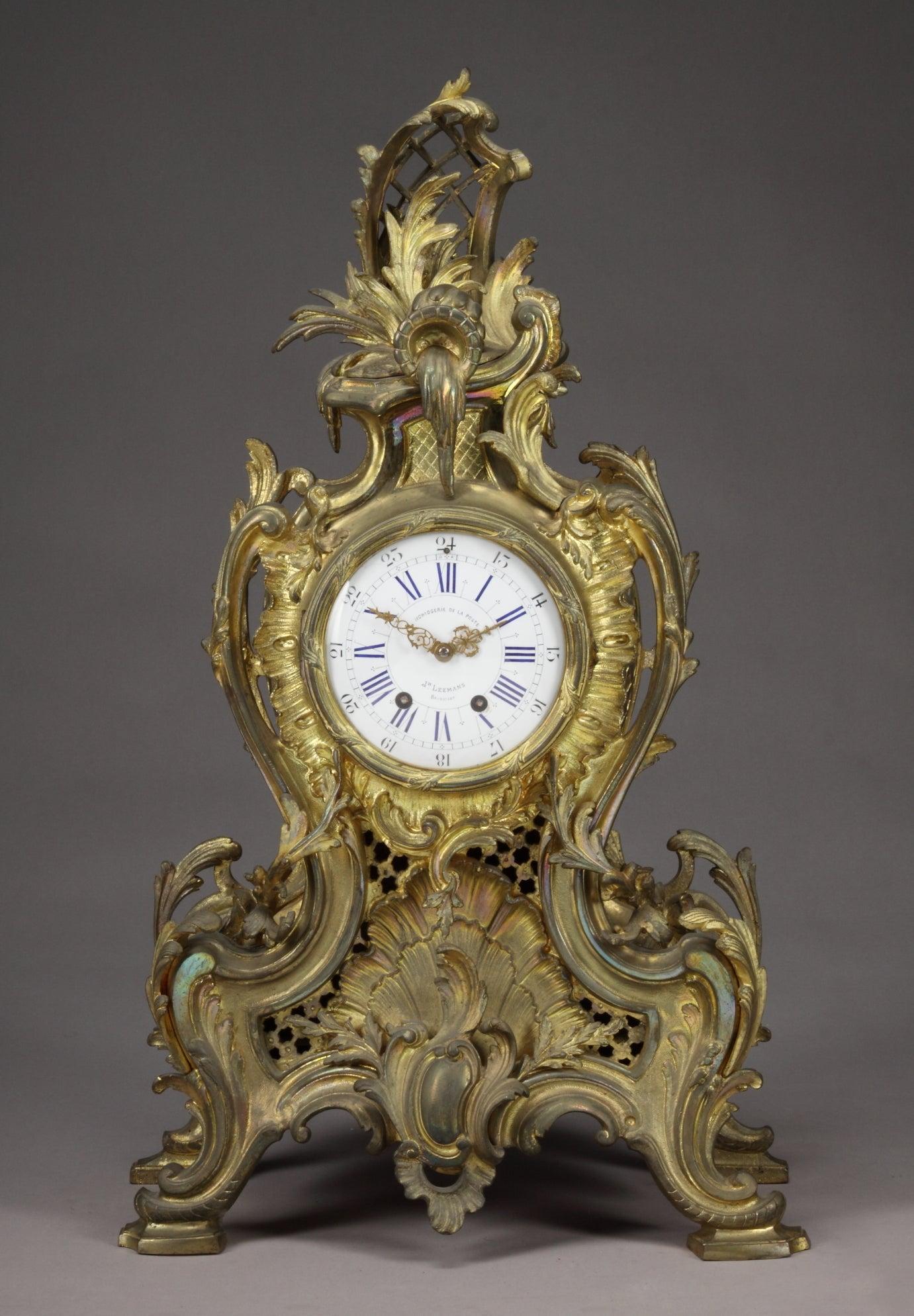 19th Century Belgian Gilt Bronze Louis XV Style Mantel Clock