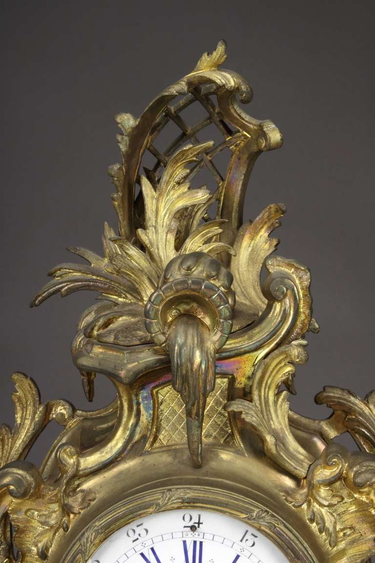 19th Century Belgian Gilt Bronze Louis XV Style Mantel Clock For Sale 1
