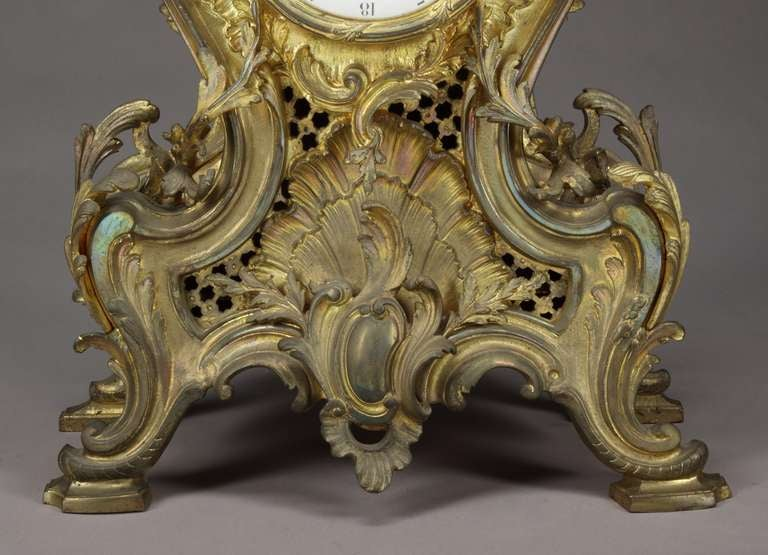 19th Century Belgian Gilt Bronze Louis XV Style Mantel Clock For Sale 2