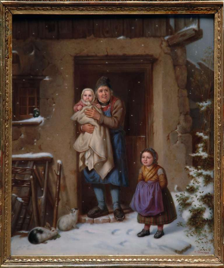 A very fine and large Berlin KPM  porcelain rectangular plaque.  Finely painted with a wintry scene of a grandfather standing before a cottage holding an infant, a young girl at his side and two rabbits nibbling lettuce in the foreground, within a