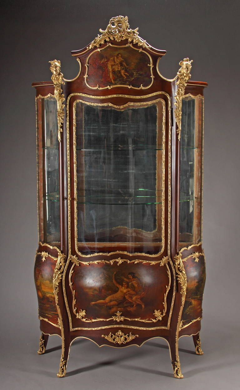 a french louis xv style ormolu mounted mahogany and vernis martin vitrine at 1stdibs. Black Bedroom Furniture Sets. Home Design Ideas
