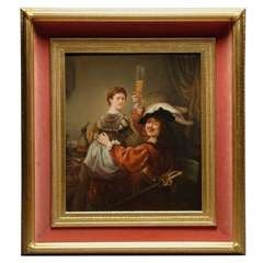 A Fine Rectangular K.P.M Porcelain Plaque Depicting Rembrandt & Saskia
