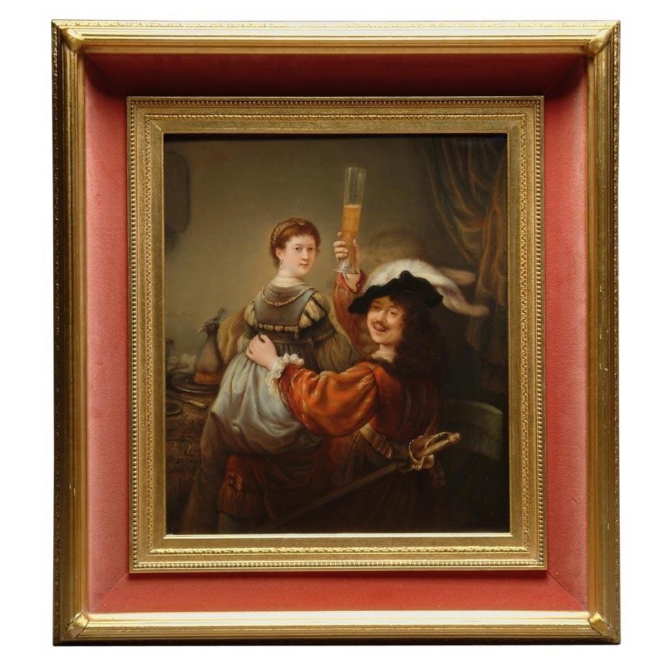 Fine Rectangular K.P.M Porcelain Plaque Depicting Rembrandt & Saskia