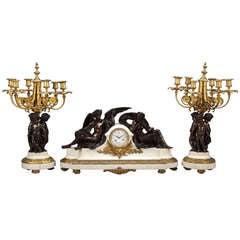 Impressive 19th Century French Clock Set by Victor Paillard