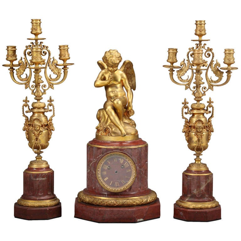 Antique French Gilt Bronze and Rouge Marble Clock Set