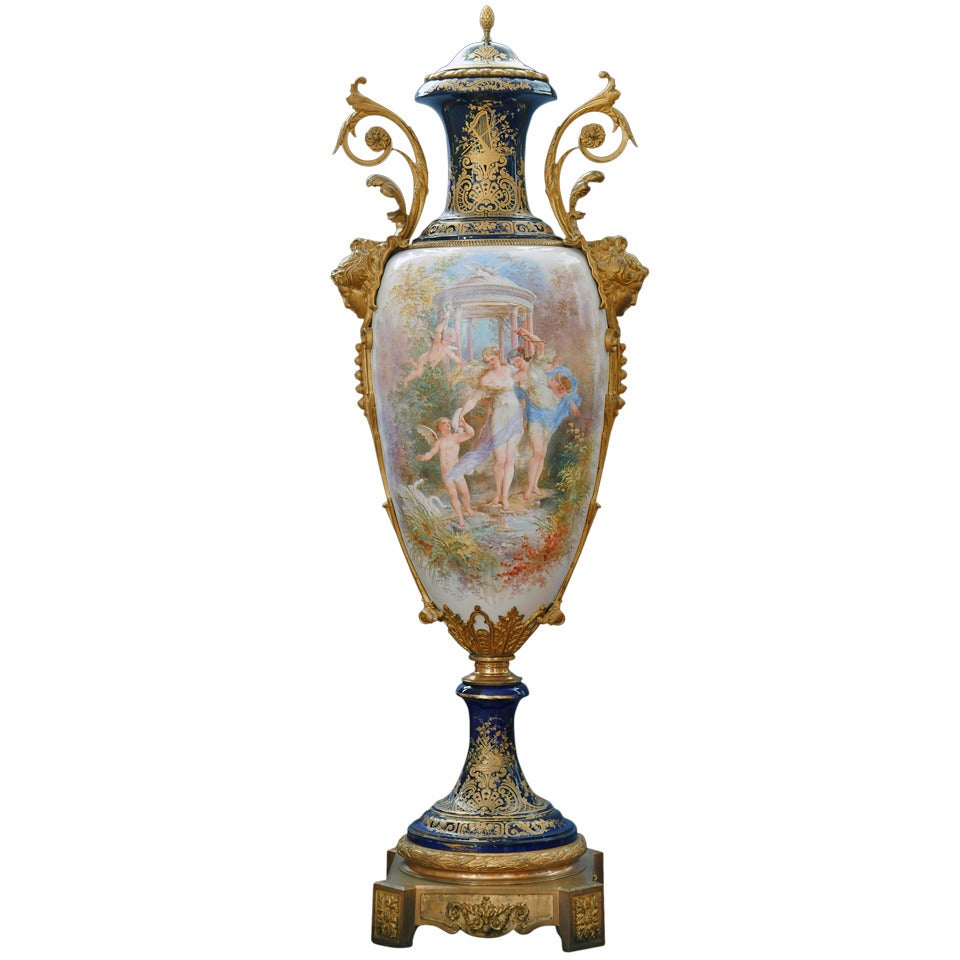 Monumental 19th Century French Sevres Style Porcelain Covered Urn
