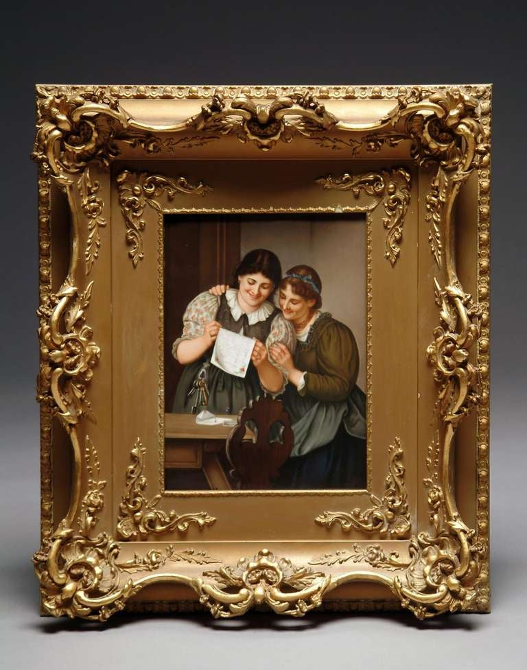 Very fine 19th century German KPM hand painted porcelain plaque depicting two young ladies reading a love letter, within a giltwood frame. Impressed monogram and sceptre mark  Plaque size: 10