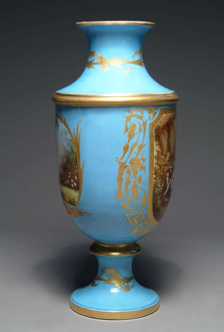 19th Century French Hand-Painted Sevres Style Turquoise Porcelain Vase For Sale 1