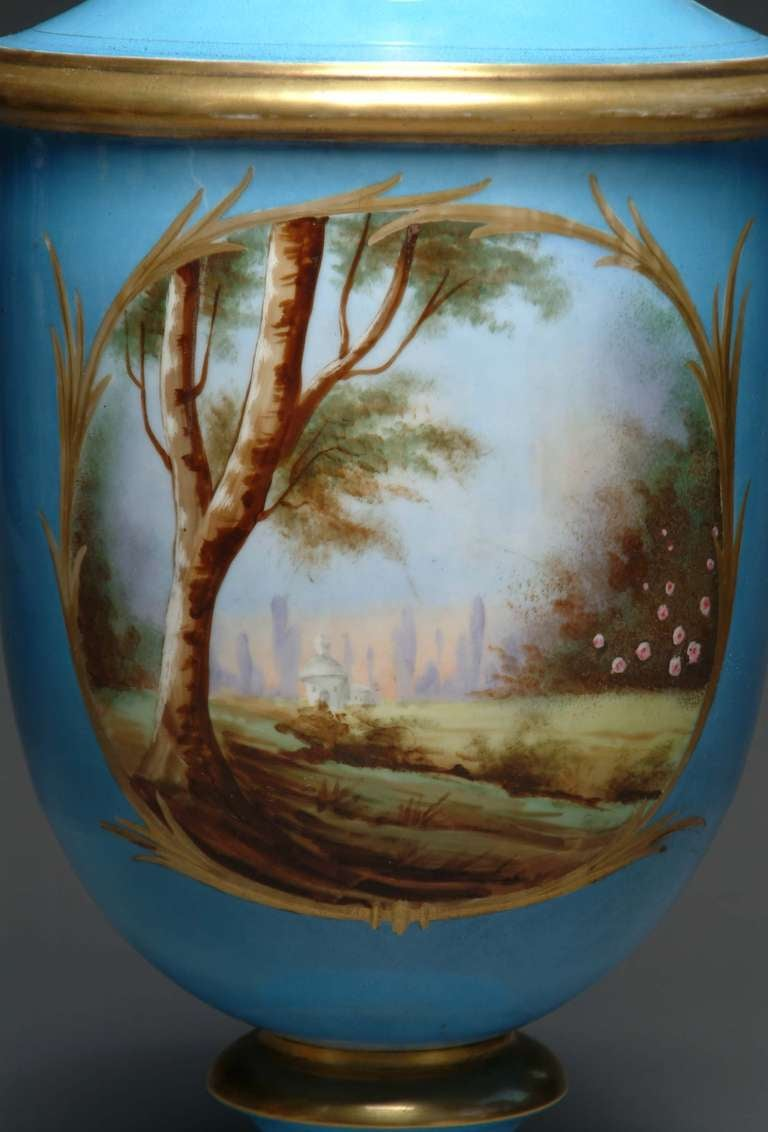 19th Century French Hand-Painted Sevres Style Turquoise Porcelain Vase For Sale 3