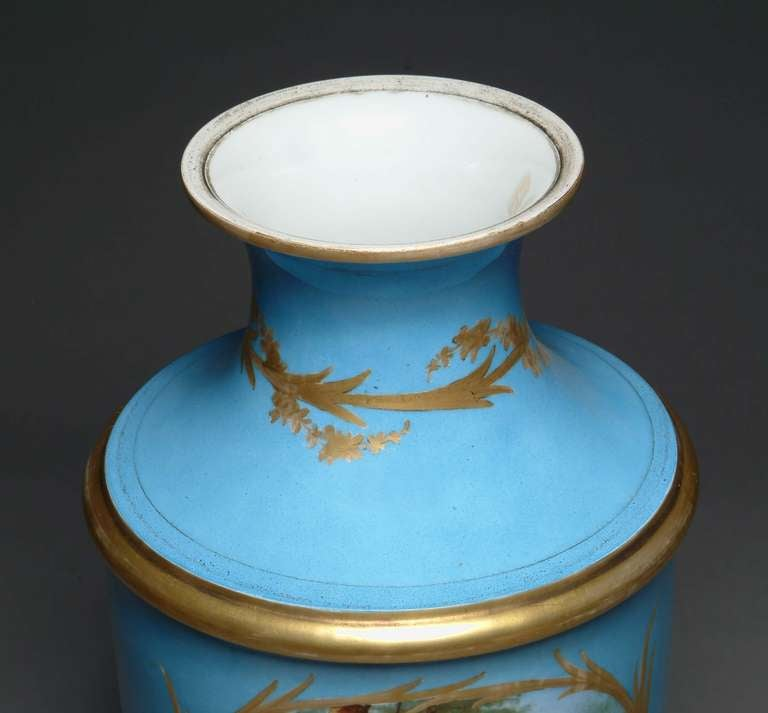 19th Century French Hand-Painted Sevres Style Turquoise Porcelain Vase For Sale 4