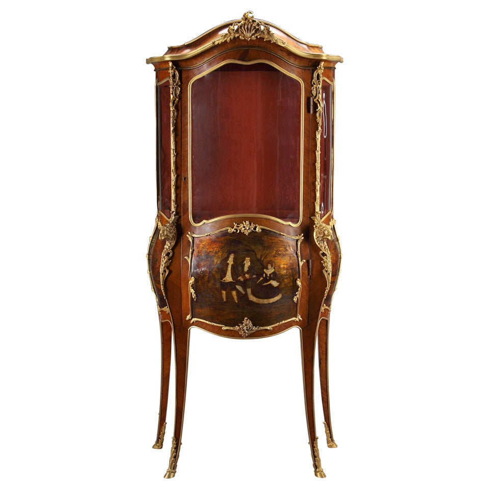 A Late 19th Century French Louis XV Style Ormolu-Mounted Vernis Martin Vitrine