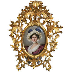 19th Century Berlin K.P.M Plaque Depicting a Portrait of a Young Lady