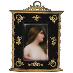 A Berlin Hand Painted Porcelain Plaque Depicting Erbluht (Blossoming Girl).