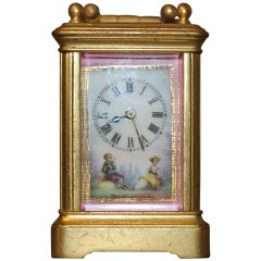French miniature porcelain-mounted carriage clock