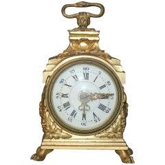 A Late 19th Century Gilt-Bronze Miniature Carriage Clock