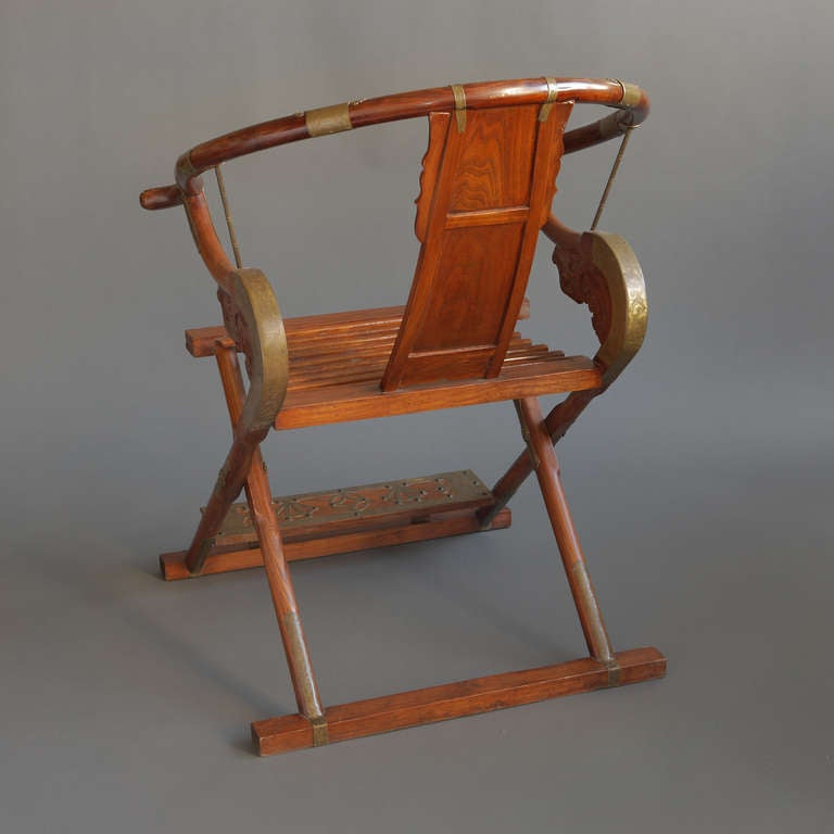 Shaped Chairs: Pair Of Large Chinese Horseshoe Shaped Folding Chairs At