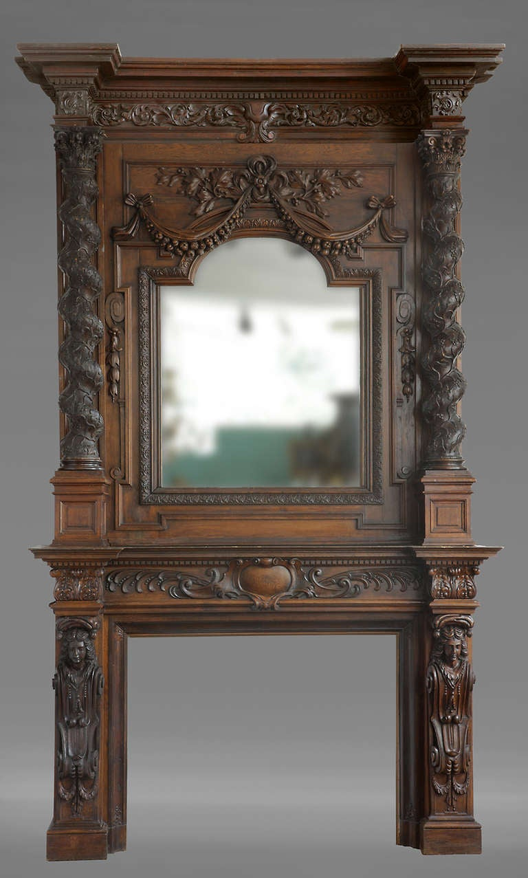 Monumental Antique French Figural Fireplace For Sale At