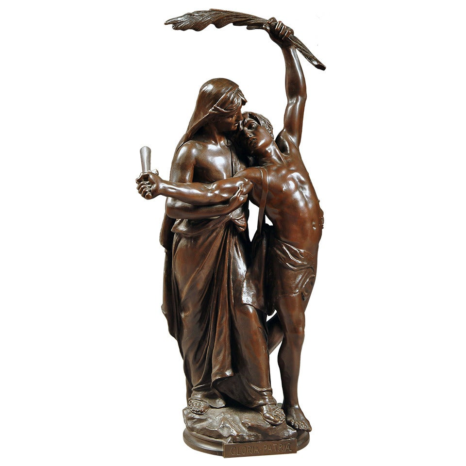 "A 19th Century French Patinated Bronze Sculpture entitled,""Gloria Patria""."