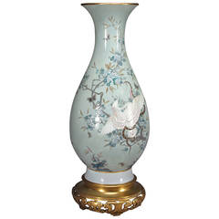 A French Sevres Porcelain Pate-Sur-Pate Celadon Ground Vase in Japanese Taste