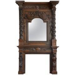 Monumental Antique French Walnut and Oak Figural Fireplace