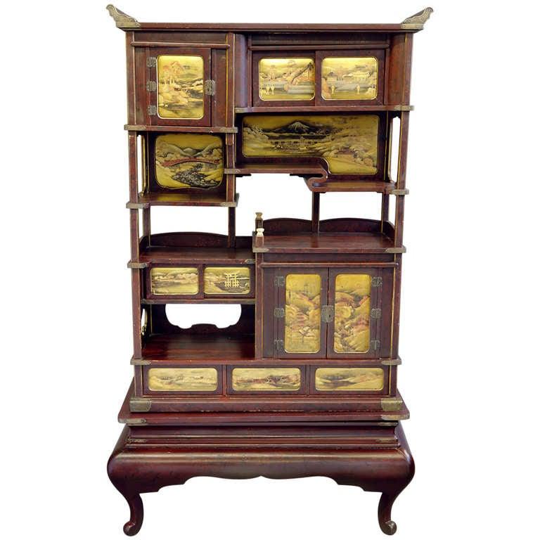 Japanese Lacquered Display Cabinet Shodana At 1stdibs